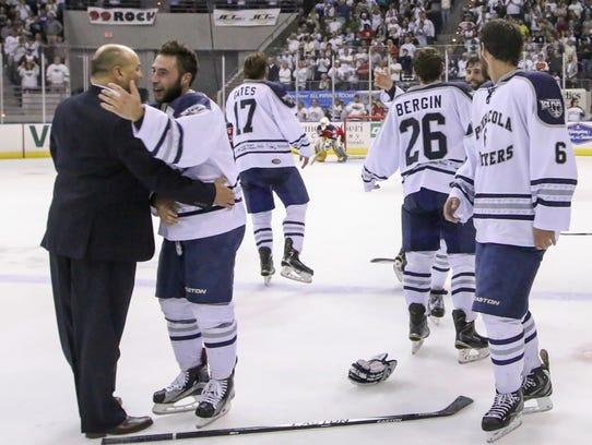 Ice Flyers coach Rod Aldoff, shown celebrating the