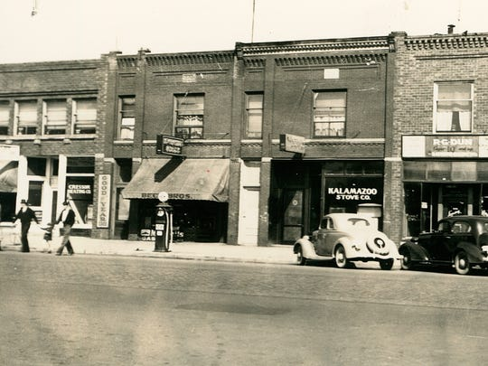 Beck Bros. was located at 615 E. Michigan Ave., and Kalamazoo Stove Co. was at 617 E. Michigan Ave. A single gas pump sits in front of Beck Bros., date unknown.
