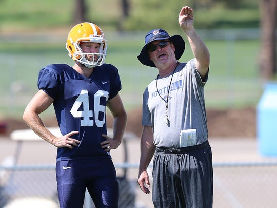 Special Teams coordinator Joe Robinson coaches Australian kicker Mitchell Crawford in the ways of American football during an August 2018 practice at Camp Ruidoso.