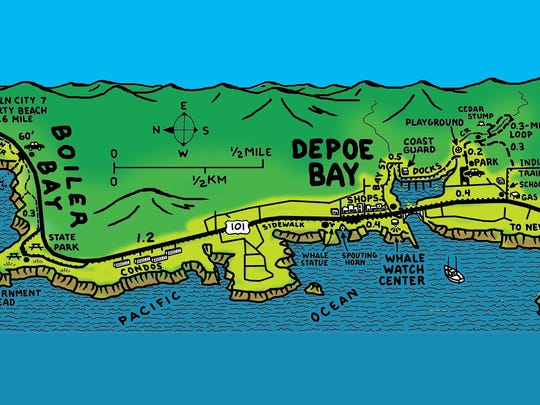 A map of the loop around Depoe Bay