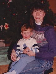 Ben Decker as a child in the late 1980s with his mother Lynne Decker.