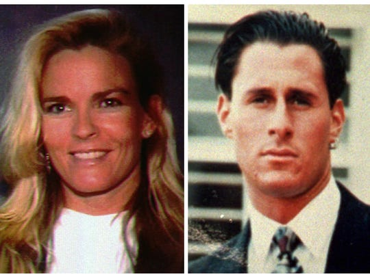 This file combo photo shows Nicole Brown Simpson, left, and her friend Ron Goldman, both of whom were murdered and found dead in Los Angeles on June 12, 1994.