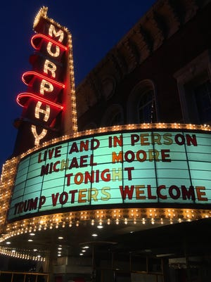 The marquee outside the Murphy Theatre in Wilmington, Ohio on Friday night.