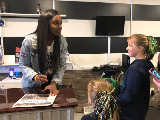 Jackie Young returned home to Princeton to greet fans after winning a national championship with Notre Dame last weekend.
