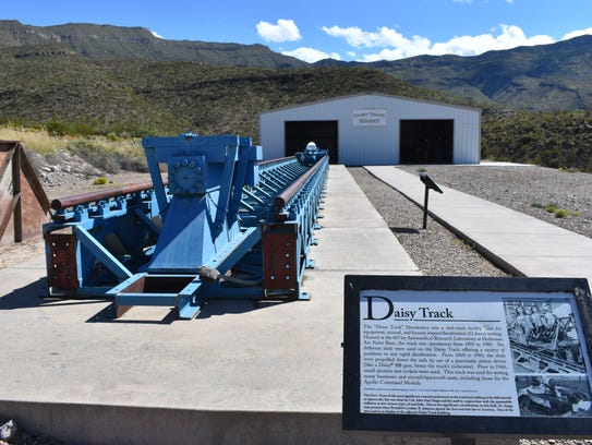 "The ""Daisy Track"" Decelerator sits on display at a"