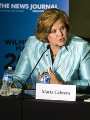 Maria Cabrera speaks during the Wilmington mayoral