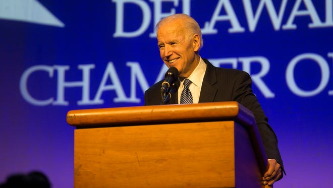 Former Vice President Joe Biden gives the keynote speech at 181st Delaware State Chamber of Commerce Dinner at the Chase Center last month.