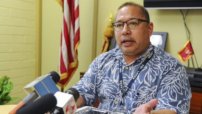 Former Chief of Police Fred Bordallo is photographed at a press conference at the GPD headquarters in Tiyan on May 1.