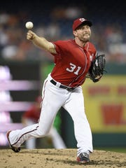 Nationals starting pitcher Max Scherzer is a front-runner for the NL Cy Young Award this season.