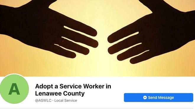 A screenshot of the Adopt a Service Worker in Lenawee County Facebook page. The page is a local way for people to help others struggling because of the pandemic.
