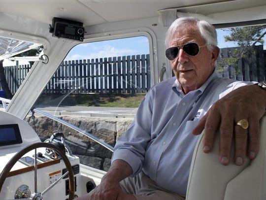 Bob Johnstone, CEO of MJM Yachts, sits inside an MJM