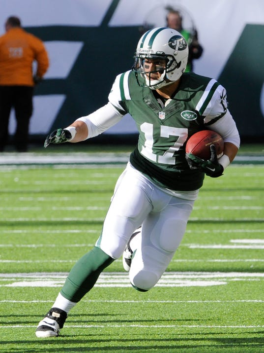 FILE - In this Sunday, Nov. 3, 2013, file photo, New York Jets' Greg Salas runs with the ball during the first half of an NFL football game against the New Orleans Saints, in East Rutherford, N.J. The 25-year-old Salas is heading into his fourth NFL season, his second with the Jets, and he has performed well in scrimmage this year. (AP Photo/Bill Kostroun, File)