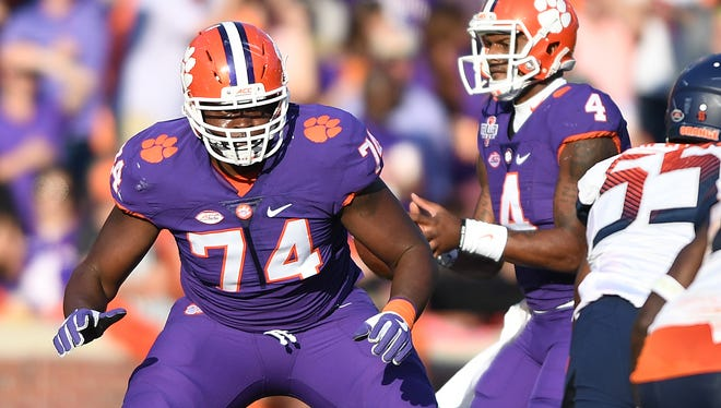Clemson offensive lineman John Simpson (74) blocks for quarterback Deshaun Watson (4) during the 2nd quarter on Saturday, November 5, 2016 at Clemson's Memorial Stadium.