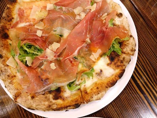 Pizza bianca Parma with bufala mozzarella, prosciutto