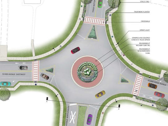Plans include a roundabout, lighting and improved sidewalks.