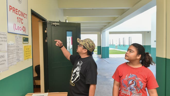 Voters show up for Primary Election Day at John F. Kennedy High School in Tumon on Aug. 27.