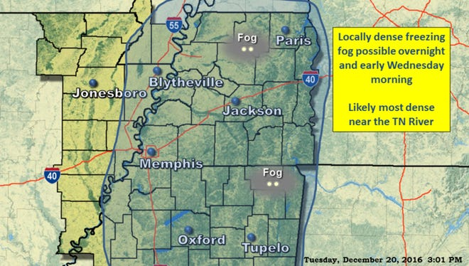 The National Weather Service in Memphis has issued a warning about possible freezing fog overnight Tuesday.