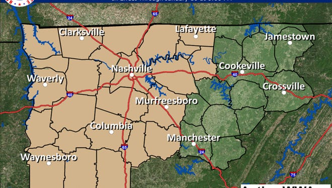 A wind advisory is in effect in Middle Tennessee through 6 p.m.