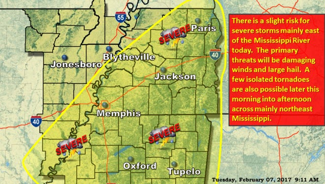 National Weather Service in Memphis has issued storm warnings for areas across West Tennessee.