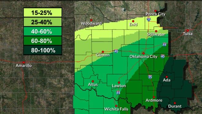 Rain chances noon until 6:00 p.m.