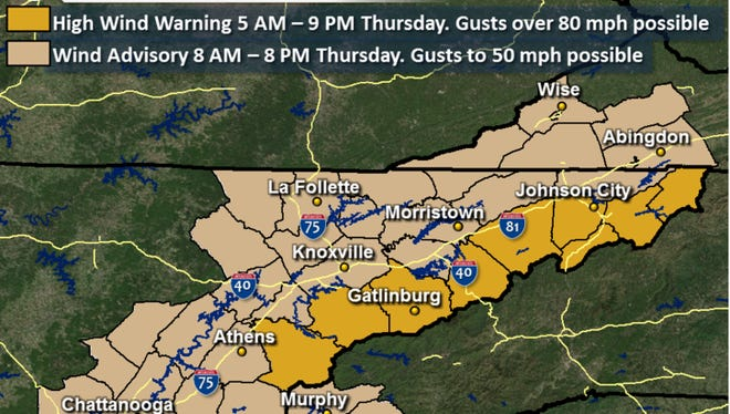 Strong winds are forecast for East Tennessee on Thursday, May 4, 2017.