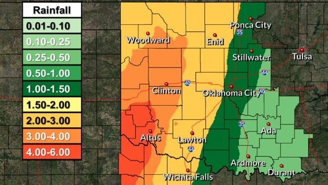 Wichita Falls could bet up to 2 inches of rain throughout the week of Sept. 25, 2017, with areas to the west getting more.