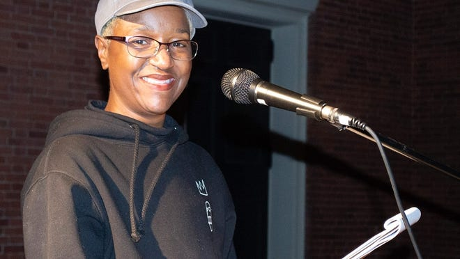 Sedruola Maruska speaks at a recent Lancaster vigil.