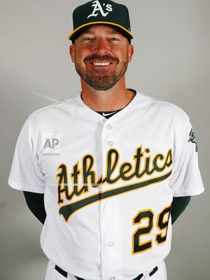 This is a 2019 photo of coach Ryan Christenson of the Oakland Athletics baseball team. This image reflects the 2019 active roster as of Tuesday, Feb. 19, 2019, when this image was taken.