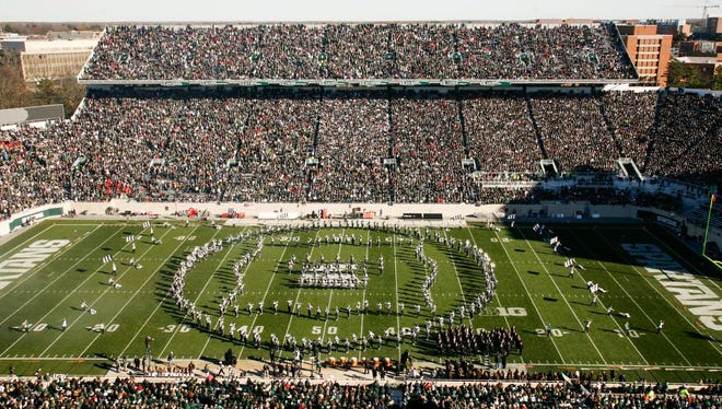 "The MSU Marching Band performs its largest halftime show, ""The Art of the March, Cues from Sun Tzu's Art of War, on Saturday at Spartan Stadium."