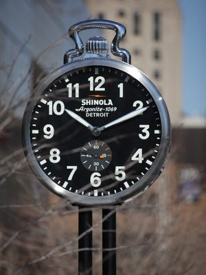 Shinola's clock at the Cobo Center in Detroit will also have to be reset to reflect the time change Sunday, Nov. 2, 2014.