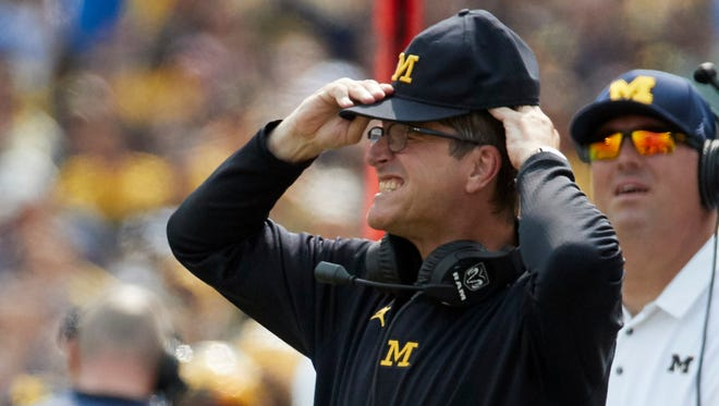 Jim Harbaugh reacts to a play in the second half of the Wolverines' 29-13 win over Air Force at Michigan Stadium on Saturday, Sept. 16, 2017.