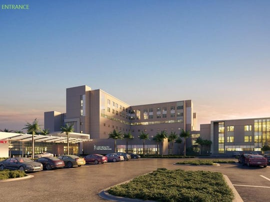 Architectural rendering of an expanded Gulf Coast Medical Center, emergency department entrance.