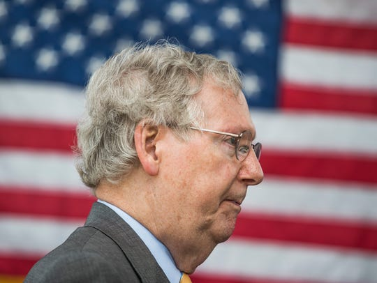 U.S. Sen. Mitch McConnell, R-Ky., speaks to members