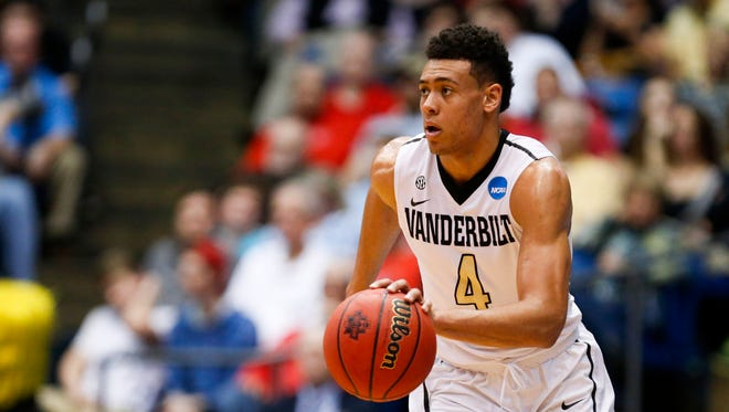 Mar 15, 2016: Vanderbilt Commodores guard Wade Baldwin IV (4) dribbles the ball during the first half against the Wichita State Shockers of First Four of the NCAA men's college basketball tournament at Dayton Arena.