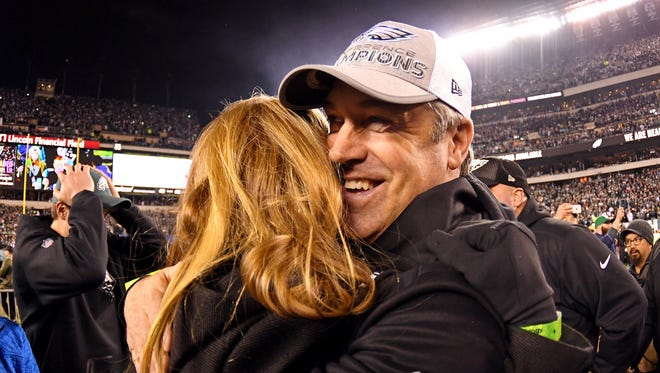 Philadelphia Eagles head coach Doug Pederson celebrates after beating the Minnesota Vikings in the NFC Championship game. Pederson set records as the quarterback of the then-Northeast Louisiana Indians in the late 1980s and early 1990s.