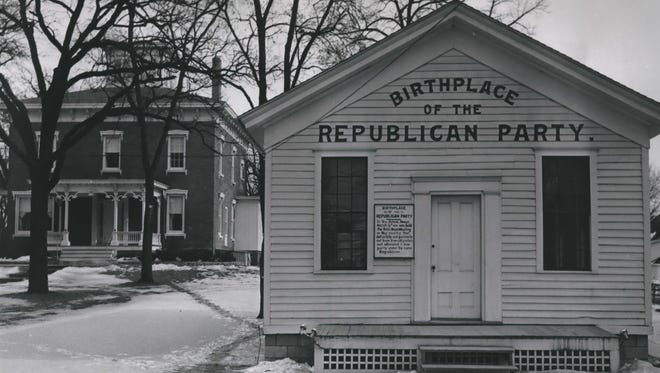 Historic building of the birthplace of the Republican Party, Ripon, Wisconsin, shown in 1966.