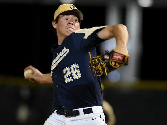 Carter Stewart pitches for Eau Gallie during a game against Merritt Island this season.