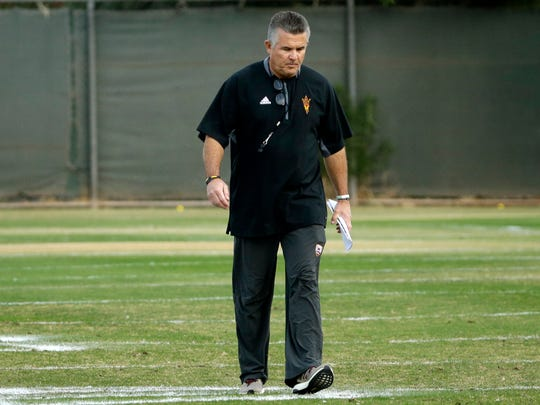Todd Graham looks down while coaching ASU's bowl practice earlier this month.