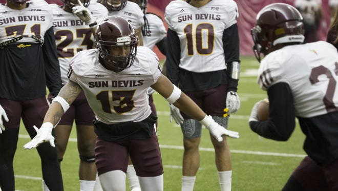 Arizona State safety Armand Perry (13) prepares to make a tackle during practice at ASU's Verde Dickey Dome on August 11, 2016, in Tempe.