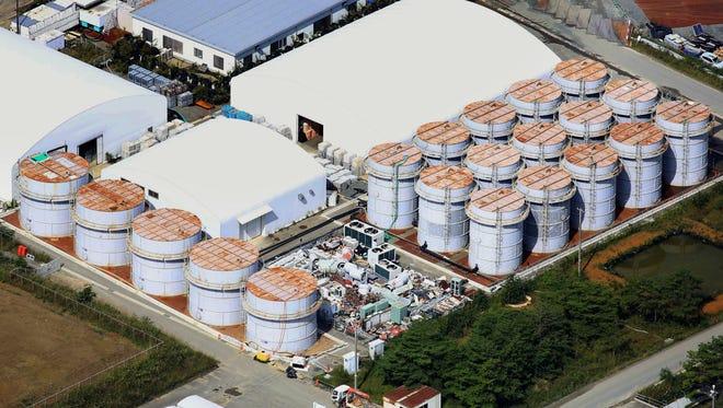 Water tanks at the Fukushima Dai-ichi nuclear plant in northeastern Japan.