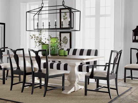 The black and white awing stripe dining room puts you