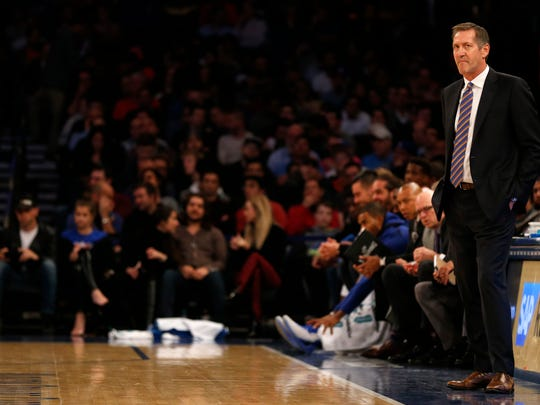 New York Knicks head coach Jeff Hornacek looks on against