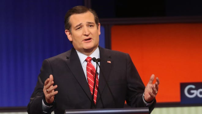 Sen. Ted Cruz, R-Texas, shown during a  Republican presidential debate in January, raised more money from Hoosiers last month than any other presidential candidate.