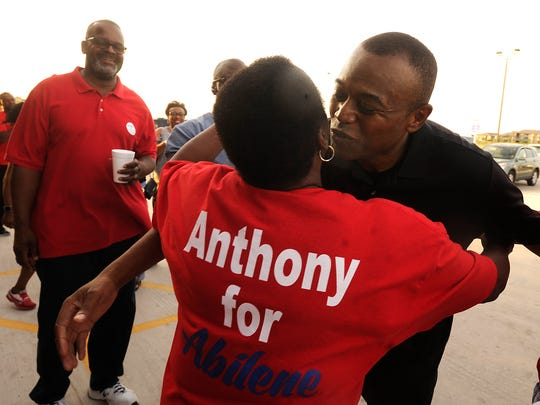 Anthony Williams gets a hug from his mother, Jacqueline, after winning the Abilene mayoral election runoff on Saturday, June 17, 2017. Williams beat Robert Briley 57.4%-42.6% in the runoff for mayor.