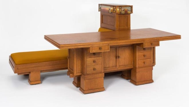 George Mann Niedecken, combination writing desk, daybed, and lamp from the Edward P. Irving Residence in Decatur, Illinois, 1910-11.  Layton Art Collection Inc., Milwaukee Art Museum.