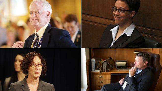 From top left clockwise, Senate President Peter Courtney, House Speaker Tina Kotek, House Republican Leader Mike McLane, Senate Republican Leader Ted Ferrioli and House Majority Leader Val Hoyle.