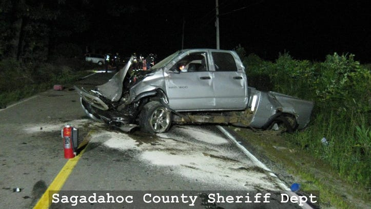 The truck Stephen Smith was driving when he crashed into a tree.