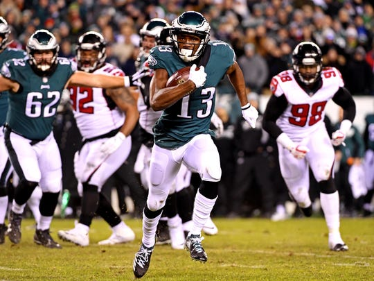 Philadelphia Eagles wide receiver Nelson Agholor (13) runs the ball during the second quarter against the Atlanta Falcons in the NFC Divisional playoff game at Lincoln Financial Field.