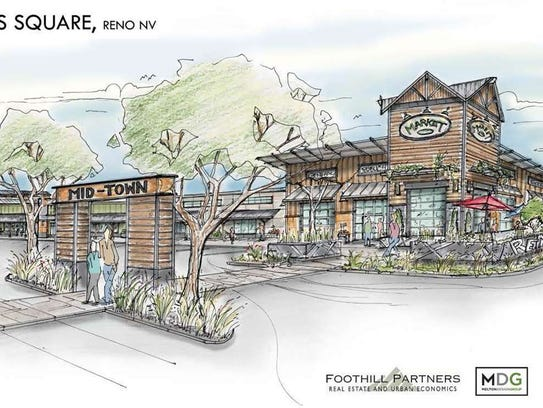 Drawings of possible exterior for Shoppers Square renovation