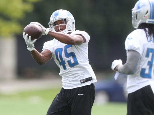 Charles Washington goes through drills during Lions practice Aug. 22, 2017 in Allen Park.